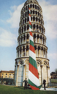 The Guinness tie exposed on the tower of Pisa